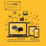 Social stil för lägenhet för nätverksmassmedia direktanslutet Fotografering för Bildbyråer