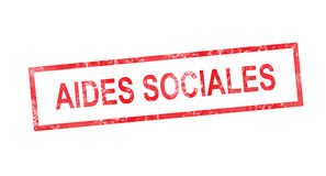 Social support in French translation in red rectangular stamp Royalty Free Stock Image