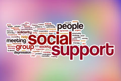 Social support word cloud with abstract background Stock Photography
