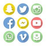 Social symbol för massmedialogotyplägenhet Arkivfoton