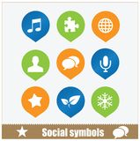 Social symbols web media set Royalty Free Stock Image