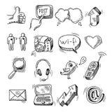 Social symbolsuppsättning för klotter royaltyfri illustrationer