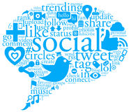 Social Talk Bubble. An illustration of a collage of social network buzz words and icons forming the shape of a talk bubble Stock Photo