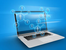 Social teamwork on the background of laptop. Social teamwork on the background of laptop Royalty Free Stock Image