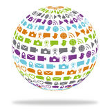 Social technology globe filled with media icons Royalty Free Stock Image