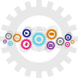 Social technology and media gear wheel chain Stock Image