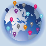Social technology and media globe showing networking icons in a Royalty Free Stock Image