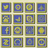 Social technology and media icon set. stock illustration