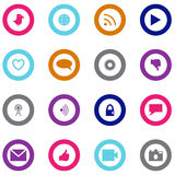 Social technology and media icon set surrounded with circle Royalty Free Stock Photo