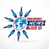 Social telecommunication theme vector logo created with blue Ear. Th planet illustration surrounded with microphones and with breaking news inscription. Press Stock Photo