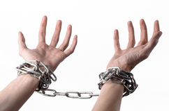 Social theme: hands tied a metal chain on a white background Stock Images