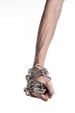 Social theme: hands tied a metal chain on a white background Stock Image