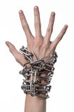 Social theme: hands tied a metal chain on a white background Royalty Free Stock Image