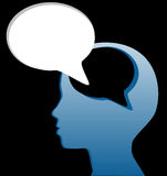 Social think speak mind speech bubble cut out Royalty Free Stock Images