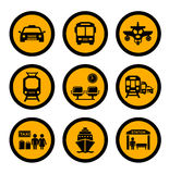 Social transport yellow icons Royalty Free Stock Image