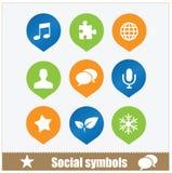 Social uppsättning för symbolrengöringsdukmassmedia Royaltyfri Bild