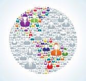 Social världsbefolkning Arkivfoto