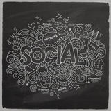 Social Vector hand lettering and doodles elements Stock Photography