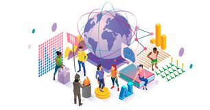 Social vector illustration. Isometric people community collection concept. Various globalization, voting, volunteering and education groups visualization royalty free illustration