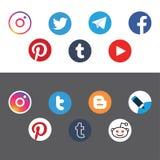 Social vektor för lägenhet för nätverkscirkelsymbol royaltyfria bilder