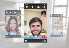 Social Video Chat App Interface. Digital composite of Social Video Chat App Interface Royalty Free Stock Image