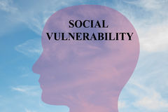 Social Vulnerability - mental concept. Render illustration of `SOCIAL VULNERABILITY` title on head silhouette, with cloudy sky as a background Royalty Free Stock Photo