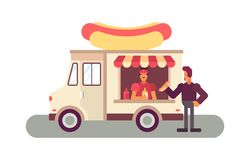 Food truck ordering. Social ways of eating ordering from a food truck Stock Photo