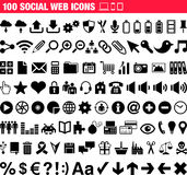 100 Social Web icons. This is a collection of 100 Social Web icons Stock Photo
