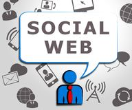 Social Web Meaning Online Forums 3d Illustration. Social Web Icons Meaning Online Forums 3d Illustration Royalty Free Stock Image