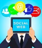 Social Web Means Online Forums 3d Illustration. Social Web Meaning Online Forums 3d Illustration Stock Photos