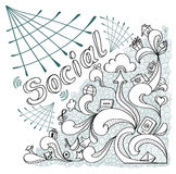 Social webs in doodle style on white background Royalty Free Stock Photo