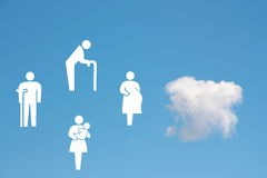 Social welfare concept on blue sky background. With white old man, disabled, pregnant and woman with baby Stock Photo