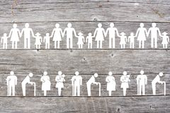 Families and Weak social categories welfare concept on wooden background. Social welfare concept on wooden background with families, old man, disabled, pregnant stock images