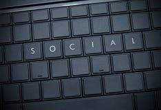 Social word. Social word on the keyboard Stock Photos