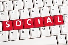 Social word on keyboard Stock Photos