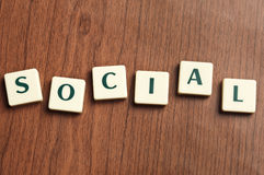 Social word made by letter pieces Royalty Free Stock Photography