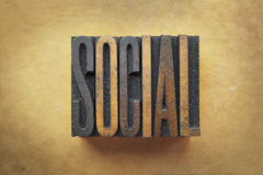 Social. The word SOCIAL written in vintage letterpress type royalty free stock images