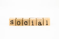 Social wording, community and organization concept. Closeup social wording isolate on white background, community and socialization concept and idea Royalty Free Stock Photo