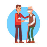 Social worker helping elder grey haired man. Young man social worker helping elder grey haired man standing with a cane. Flat style vector illustration isolated Stock Photography