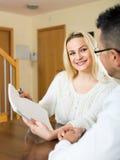 Social worker polls tenants Royalty Free Stock Image