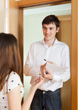 Social worker questioning girl Stock Photo