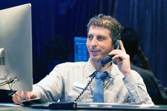Close-up of an call center worker stock images