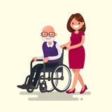 Social worker on a walk with disabled grandfather. In a wheelchair. Vector illustration of a flat design Royalty Free Stock Images