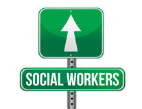 Social workers road sign illustration design 库存照片