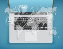 Social world map on background of laptop. Social world map on the background of laptop Royalty Free Stock Photography