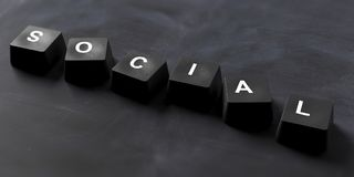 Social written on keyboard keys on black background, banner, view from above. 3d illustration. Social media concept. Social written on keyboard keys on Stock Images