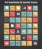 Social y vector fijado iconos del negocio Fotos de archivo