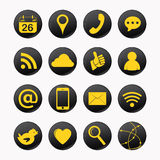 Social yellow icons Stock Photos