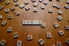 Sociala bokstäver Arkivfoto