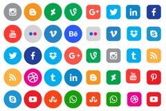 Sociala knappar för massmediasymbolssamling vektor illustrationer